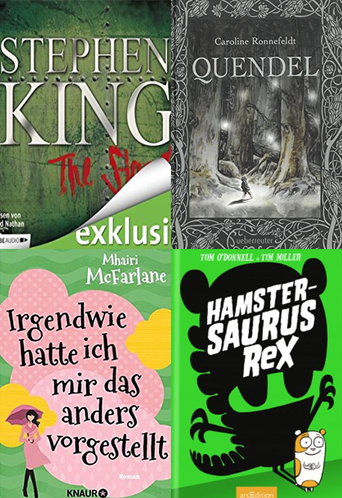 Vier Cover mit unterschiedlichen Farben und Motiven. Gemeinsam Lesen.