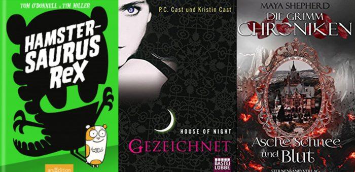 Drei Cover. Grün mit Hamster, schwarz mit Frau und schwarz mit Spiegel und Schloss. Leseupdate.