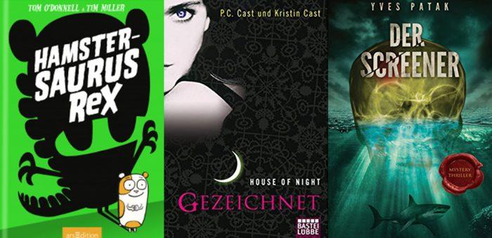 Drei Cover. Grün mit Hamster, schwarz mit Frau und dunkel mit Schädel und Hai. Leseupdate.