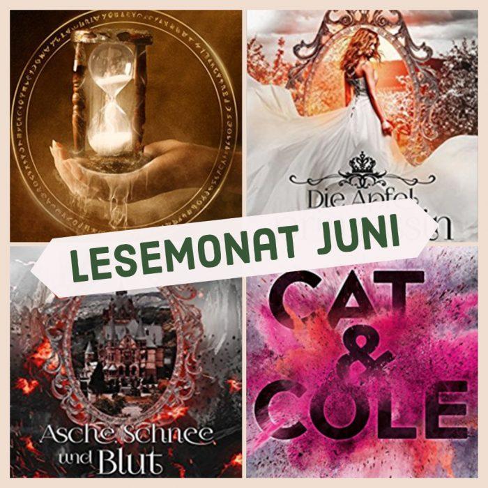 Vier Cover mit unterschiedlichen Farben und Motiven. Lesemonat.