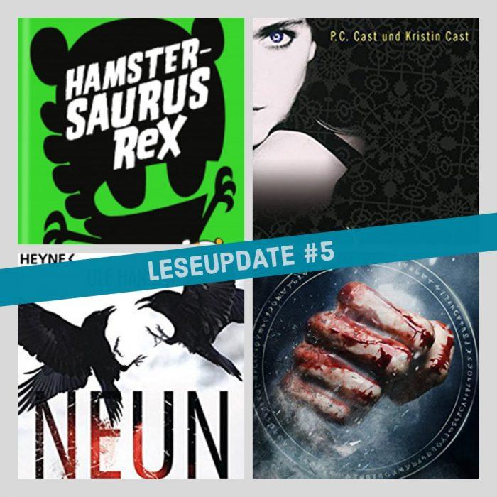 Vier Buch-Cover in unterschiedlichen Farben und Motiven. Leseupdate.