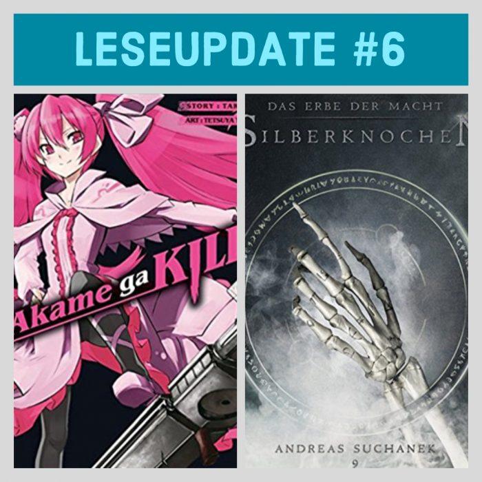 Zwei Buch-Cover. Schwarz mit einem Mädchen in pink und schwarz-weiss mit einer knochigen Hand. Leseupdate.