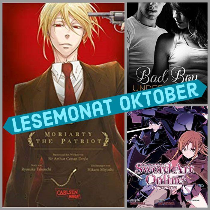 Drei Buch-Cover. Eins in rot Mann mit Waffe am Kopf, eins schwarz-weiß mit Paar und bunt mit Kirito und Asuna. Lesemonat.