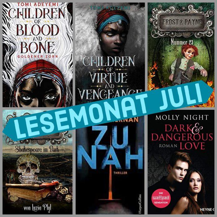 Sechs verschiedene Buchcover, alle sind dunkel. Lesemonat Juli.