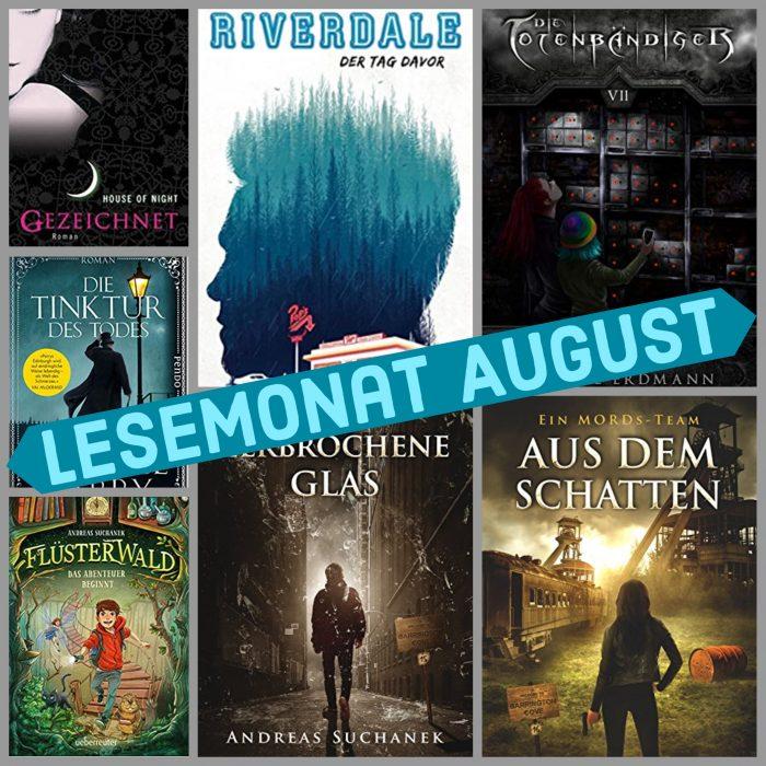 Lesemonat August. Sieben unterschiedliche Buchcover.