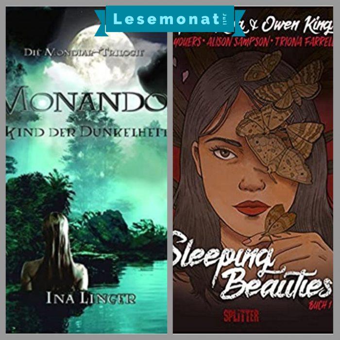 Lesemonat Juli 2021. Zwei Buchcover. Monandor Blau-Grünes Cover mit einer Frau im See. Rotes Cover mit einer Frau und Motten.
